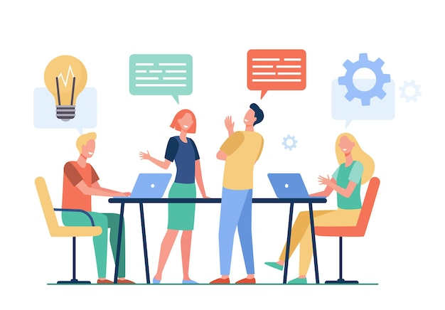 Business team planning working process flat vector illustration. cartoon colleagues talking, sharing thoughts and smiling in company office. teamwork and workflow concept