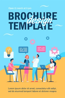 Business team planning working process flyer template