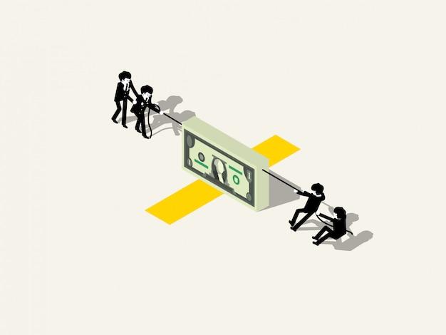 Бизнес команда играет в перетягивание каната с деньгами