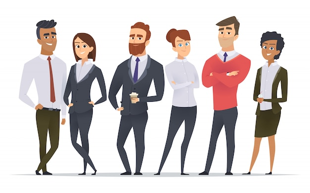 Business team. professional workers happy partners group team building office male and female managers standing  characters