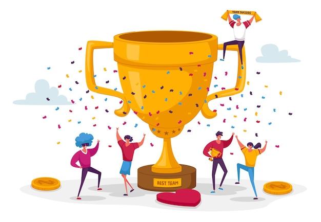 Бизнес-команда успешный проект группа людей стоит у огромного золотого кубка