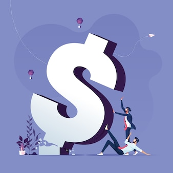 Business team push fallen broken dollar sign metaphor of crisis and inflation-financial concept