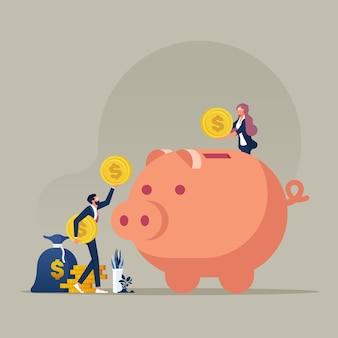비즈니스 팀은 동전을 돼지 저금통에 넣고 돈과 이익 개념을 절약합니다.