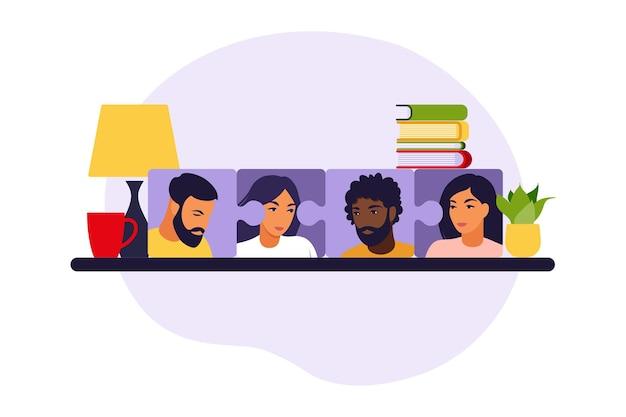 Бизнес-команда, собирая головоломку. мультяшные партнеры, работающие в связи. символ совместной работы, сотрудничества, партнерства. плоские векторные иллюстрации.