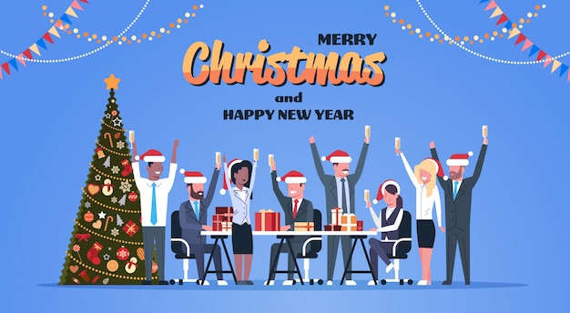 Business team raised hands champagne glasses decorated fir tree happy new year merry christmas celebration