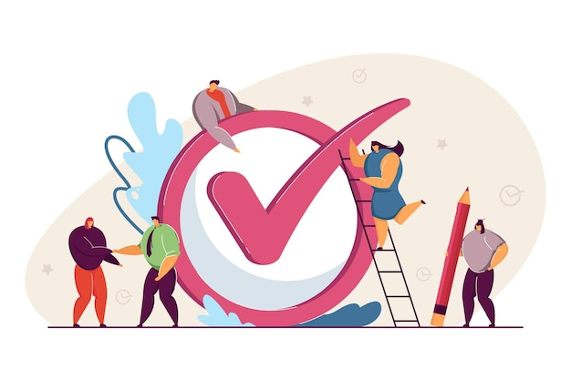 Business team realizing plan, achieving goal. flat vector illustration. tiny people, workers checking giant checkmark, making checklist done. job, plan, teamwork, business concept for banner design