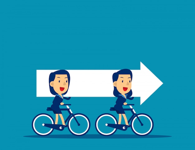 자전거를 타고 화살표를 운반하는 비즈니스 팀