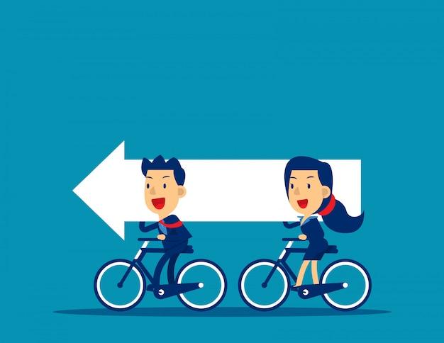 자전거를 타고 화살표를 운반하는 비즈니스 팀 프리미엄 벡터