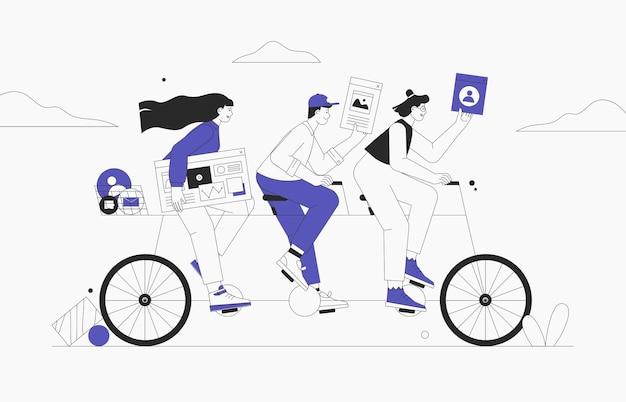 タンデム自転車に乗るビジネスチーム。自転車でビジネスマンや実業家のキャラクター。成功したチームワークとリーダーシップの概念。フラットスタイルのベクトル図です。