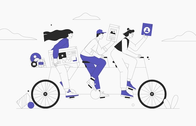 Business team riding tandem bicycle. businessman and businesswoman characters on bike. successful teamwork and leadership concept. flat style vector illustration.