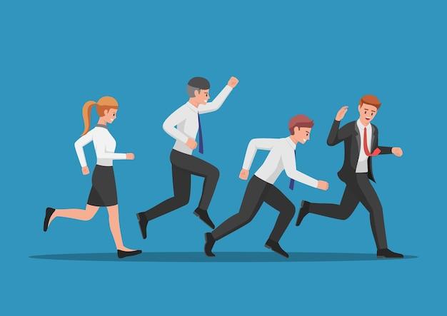 Бизнес-команда работает за лидером. концепция совместной работы и лидерства.