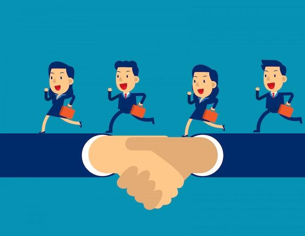 Business team running on hand shake