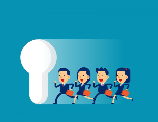 Business team running to large keyhole