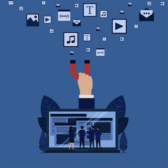 Business team see web from laptop hand hold magnet pull content media metaphor of full media content of websites.