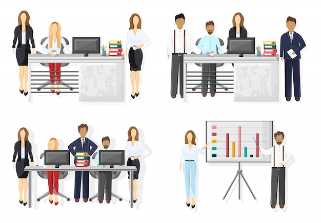Business team set illustration