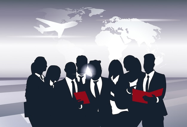 Business team silhouette businesspeople group human resources over world map trip flight concept