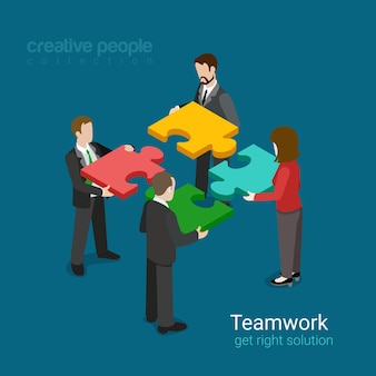 Business team solution in partnership concept