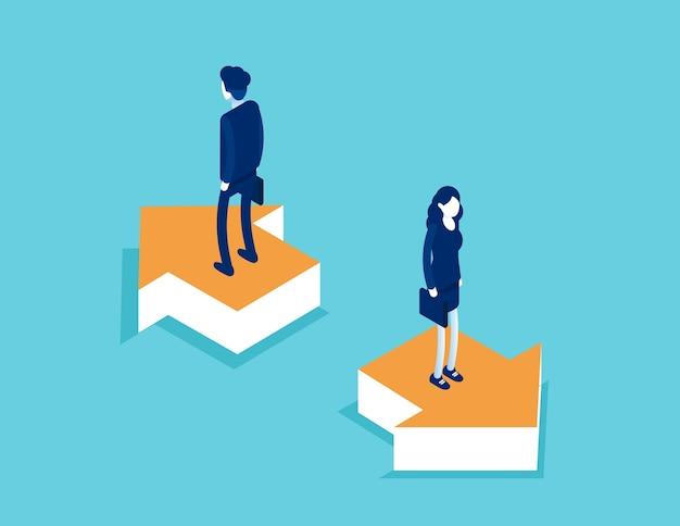 矢印と成功の方向性に関するビジネスチームのスタン