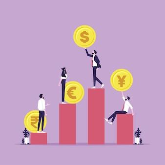 비즈니스 팀은 통화 기호 환율 비즈니스 금융 개념이 있는 막대 그래프에 서 있습니다.