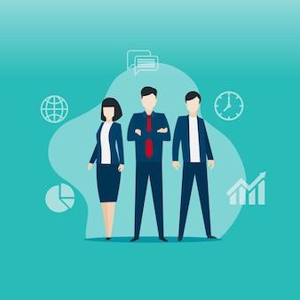 비즈니스 팀은 팔을 교차 의미합니다. 일할 준비가 비즈니스 팀.