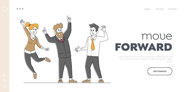 Business team success celebration landing page template.