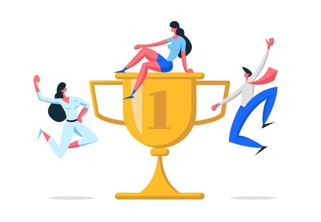 キャラクターと金賞のイラストとビジネスチームの成功の概念