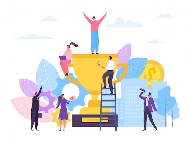 Business team success with winner prize,  illustration. worker group champion, teamwork goal achievement. man woman