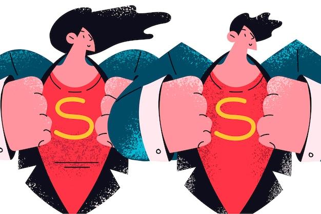 비즈니스 팀 슈퍼 히어로 성공 개념