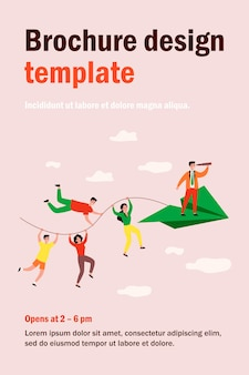Business team and teamwork metaphor. people holding rope of paper airplane, team leader with spyglass standing in front.  illustration for business, planning, challenge concept
