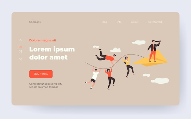 Business team and teamwork metaphor. people holding rope of paper airplane, team leader with spyglass standing in front. vector illustration for business, planning, challenge concept