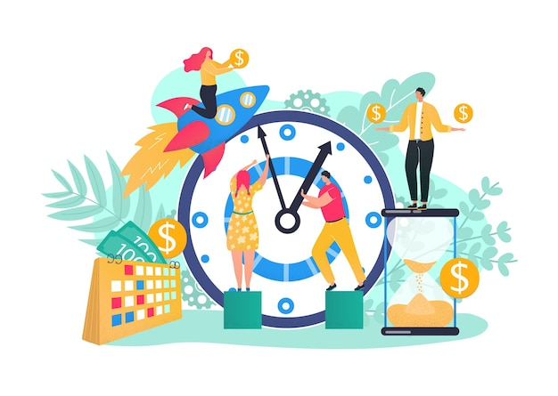 큰 시계 개념으로 비즈니스 팀 시간 관리