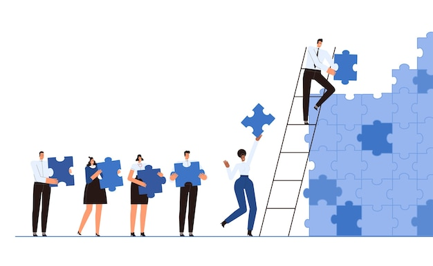 The business team together collects a wall of puzzles illustration