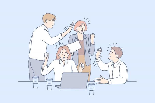 비즈니스 팀, 승리, 협력, 성공, 목표 달성 협력 개념