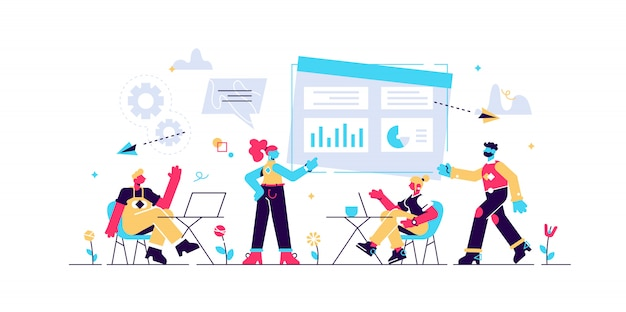 Business team with laptops look at digital presentation with charts. digital presentation, office online meeting, visual data representation concept. bright vibrant violet isolated illustration
