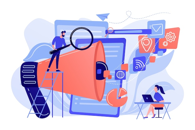 Бизнес-команда с мегафоном и иконками сми работает над поисковой оптимизацией. интернет-маркетинг, концепция инструментов seo на белом фоне.