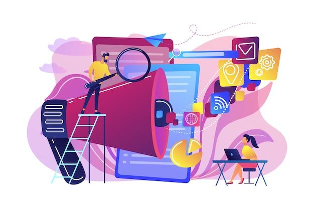 Бизнес-команда с мегафоном и медиа-иконками работает над поисковой оптимизацией. интернет-маркетинг, концепция инструментов seo
