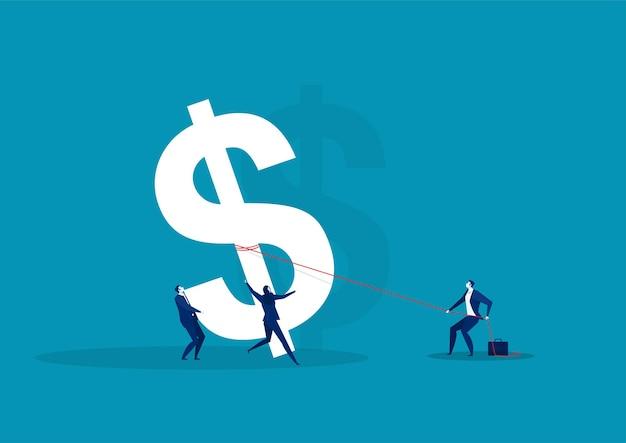 Деловая команда, рабочая группа, толкает и поднимает доллар символа курса большой денежной массы