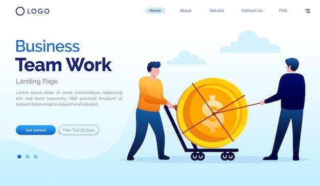 Business team work landing page flat vector template
