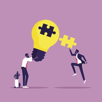ビジネスチームが協力して問題を解決するコラボレーションとブレーンストーミングのビジネスコンセプト