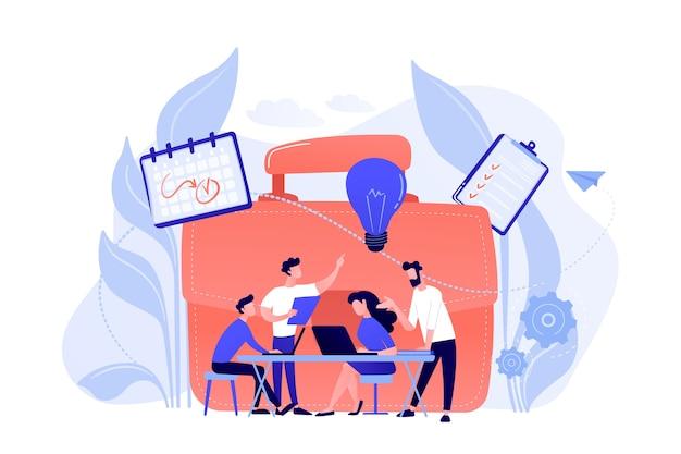 비즈니스 팀은 노트북 및 전구와 함께 작동합니다. 흰색 배경에 협업, 협업 문제 해결 및 파트너십 개념.