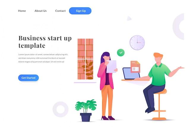 ビジネスチームの作業のwebランディングページ