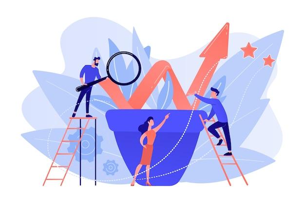 꽃 냄비에 성장 차트와 비즈니스 팀 작업. 흰색 배경에 지속 가능한 개발 및 비즈니스 성장, 진화 및 진행 개념.