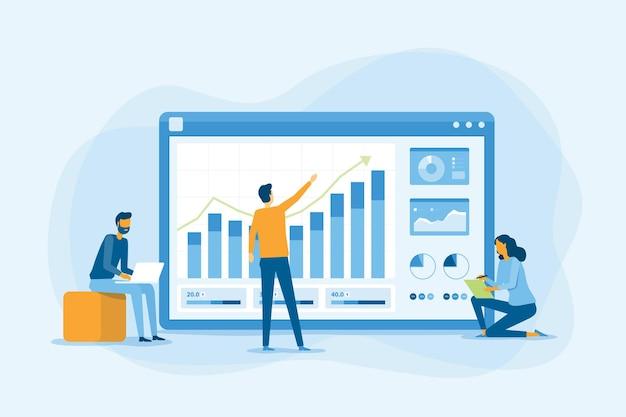 ビジネスチームの作業と分析財務グラフレポートの概念