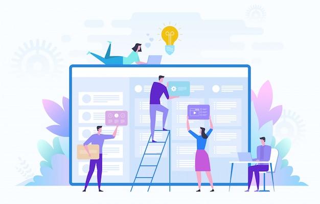 大きなプロジェクトに取り組んでいるビジネスチーム。チームワーク、コミュニケーション、相互作用、ビジネスプロセス