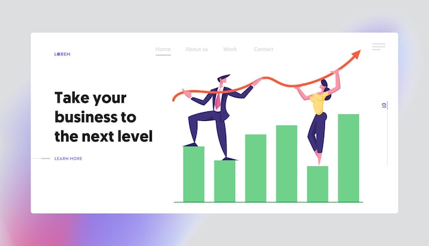 成長矢印グラフの概念のランディングページセットに取り組んでいるビジネスチーム