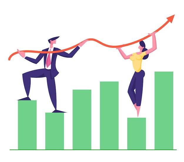성장 화살표 그래프 그림 작업 비즈니스 팀