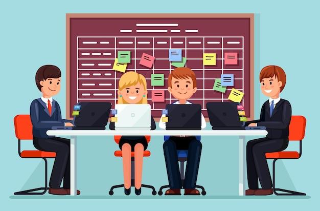 オフィスのイラストでラップトップを使用してデスクで一緒に働くビジネスチーム