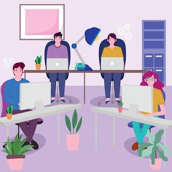 ラップトップを使用してデスクで一緒に働くビジネスチーム、イラストを働く人々