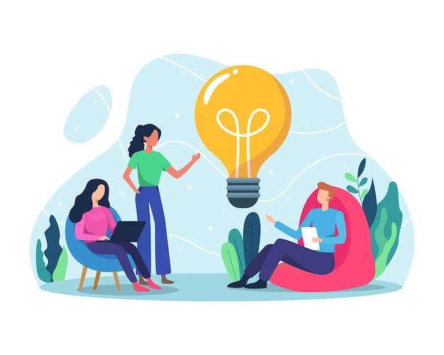 アイデアを議論するブレーンストーミングで一緒に働くビジネスチーム