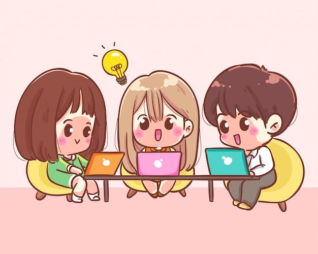 Business team working together cartoon art illustration premium vector